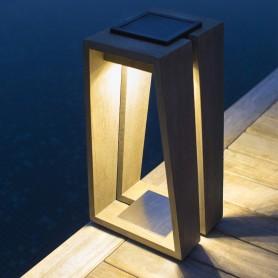 Lanterne solaire Skaal en teck Duratek ht 39cm Les Jardins