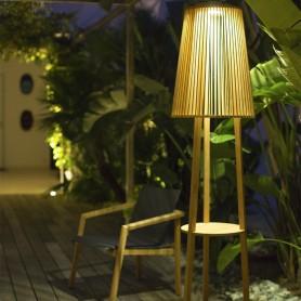 Lampadaire solaire Tecka en teck ht182cm Les Jardins