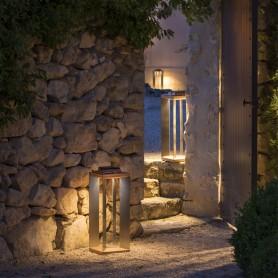 Lanterne solaire Teckinox en teck et inox ht 45cm Les Jardins