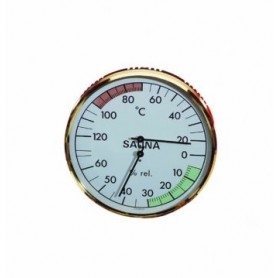 Thermomètre Hygromètre de sauna EOS rond fond blanc