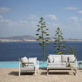 Canapé 2 places BASTINGAGE en aluminium avec accoudoirs Duratek