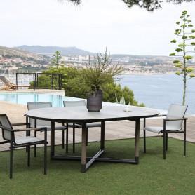 Table ronde extensible BASTINGAGE en aluminium gris - inserts Duratek - plateau HPL