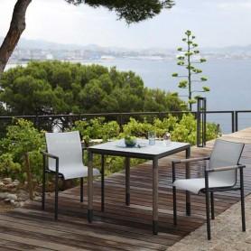 Table bistro BASTINGAGE en aluminium - inserts Duratek - plateau HPL