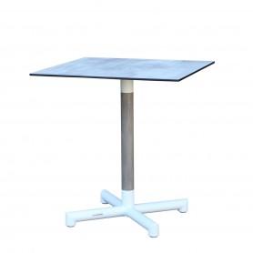 Table BASTINGAGE avec pied central en aluminium blanc- inserts Duratek