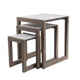 Lot de 3 tables gigignes SKAAL en teck Duratek - plateau HPL béton ciré
