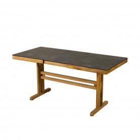 Table balcon TEKURA avec allonge papillon et pied central en teck - plateau HPL ardoise
