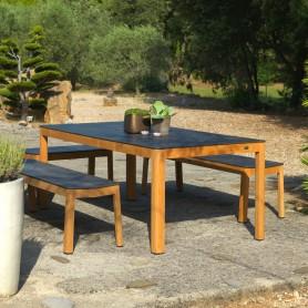 Table TEKURA 200x95cm en teck - plateau HPL ardoise