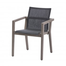 Fauteuil empilable COPENHAGUE en Durateck - Assise en Batyline Eden