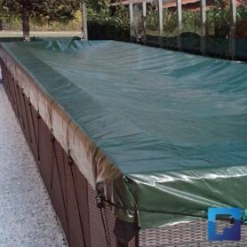 Couverture d'hivernage à tendeurs pour piscine Dolcevita de 2,0 x 4,0m de dimensions d'eau.