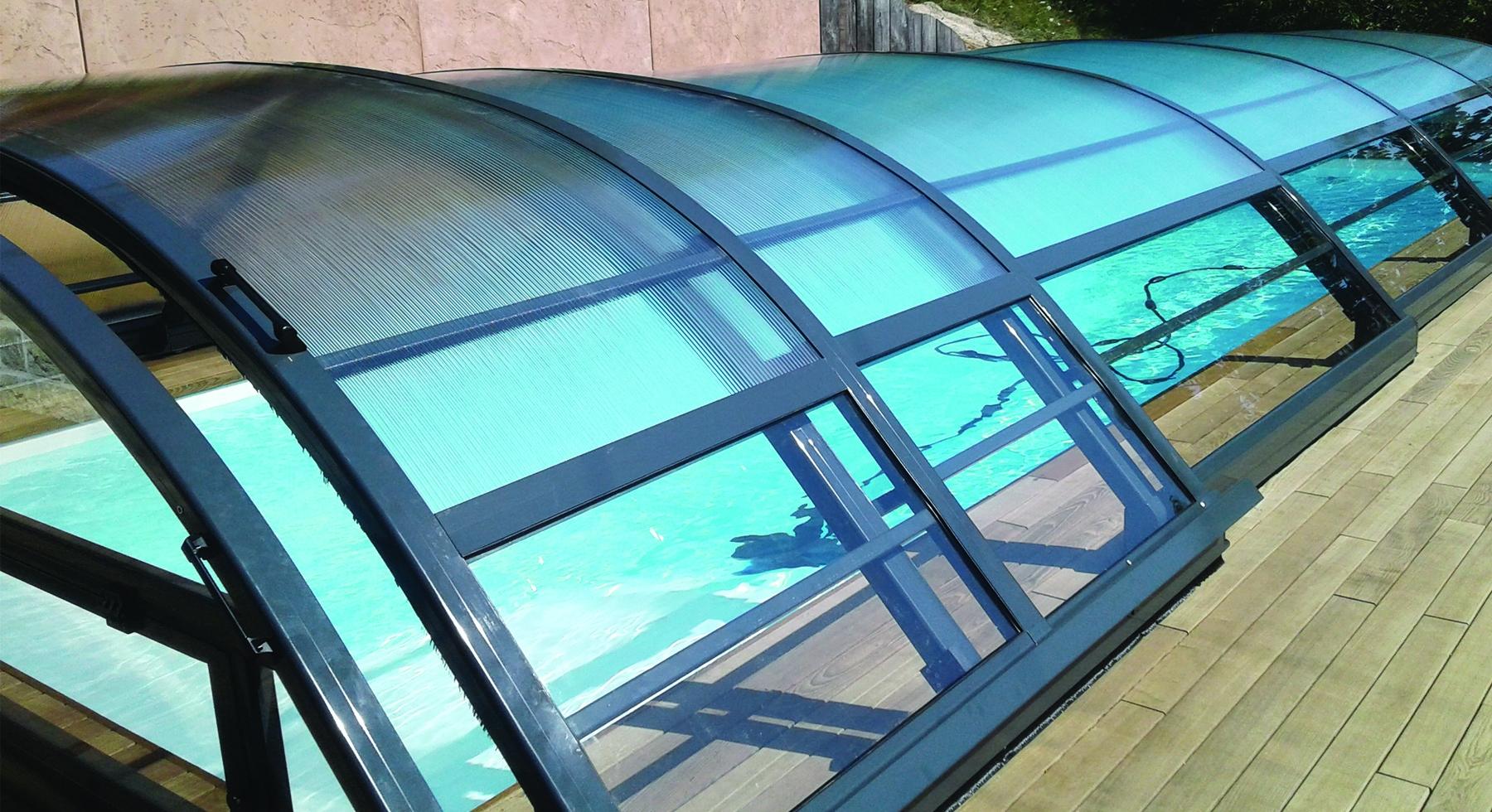 Abri de piscine bas Mianso télescopique