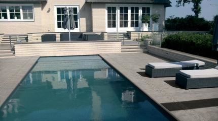 Grès cérame ingélif 2cm d'épaisseur avec pièces de finition spéciales piscine et terrasse 1