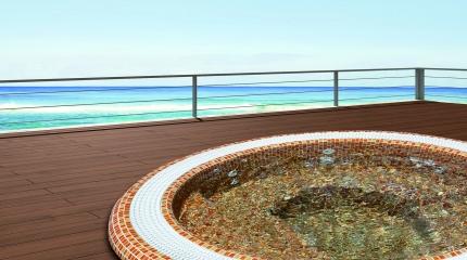 Spa Oasis à débordement en mosaïque de verre